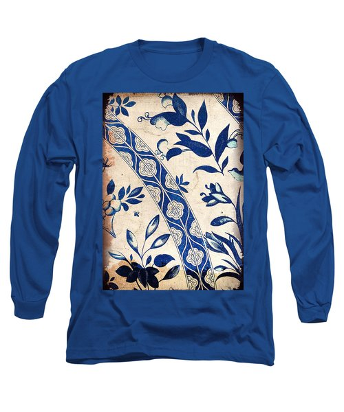 Blue Oriental Vintage Tile 04 Long Sleeve T-Shirt