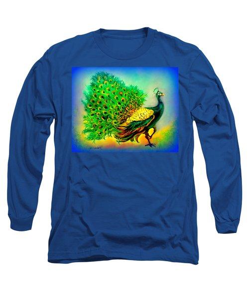 Blue Peacock Long Sleeve T-Shirt by Yolanda Rodriguez