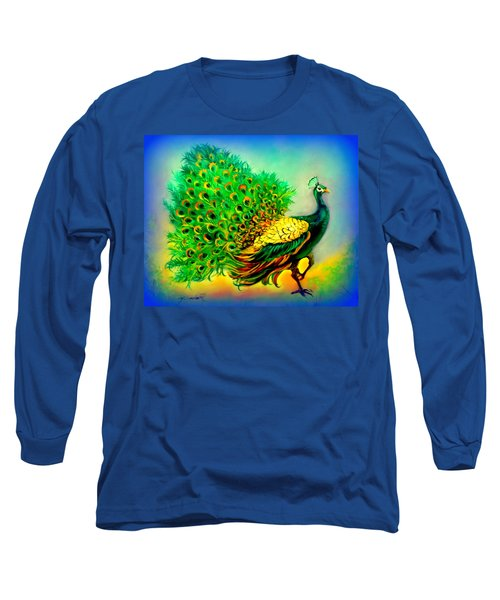 Blue Peacock Long Sleeve T-Shirt