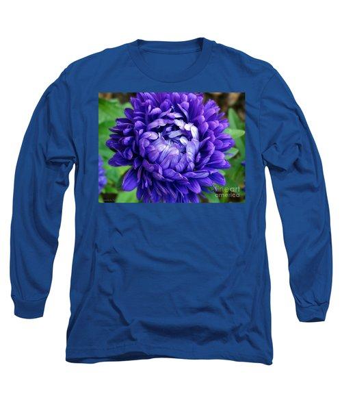 Blue Petals Long Sleeve T-Shirt by Gena Weiser