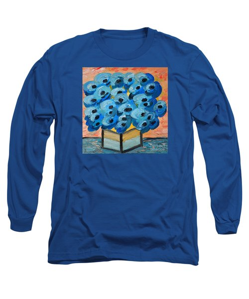 Blue Poppies In Square Vase  Long Sleeve T-Shirt