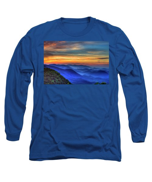 Long Sleeve T-Shirt featuring the photograph Blue Ridges 2 Pretty Place Chapel View Great Smoky Mountains Art by Reid Callaway