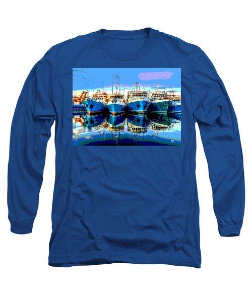 Blue Shrimp Boats Long Sleeve T-Shirt by Charles Shoup