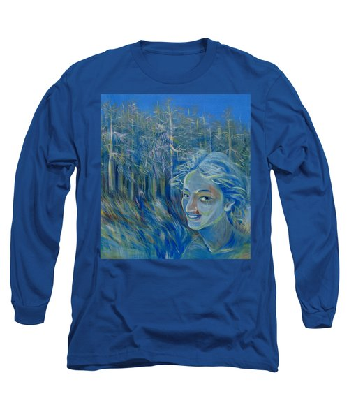 Long Sleeve T-Shirt featuring the painting Blue Spring by Anna  Duyunova