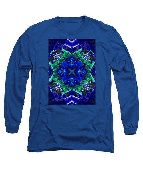 Blue Star Mandala Long Sleeve T-Shirt by Mimulux patricia no No