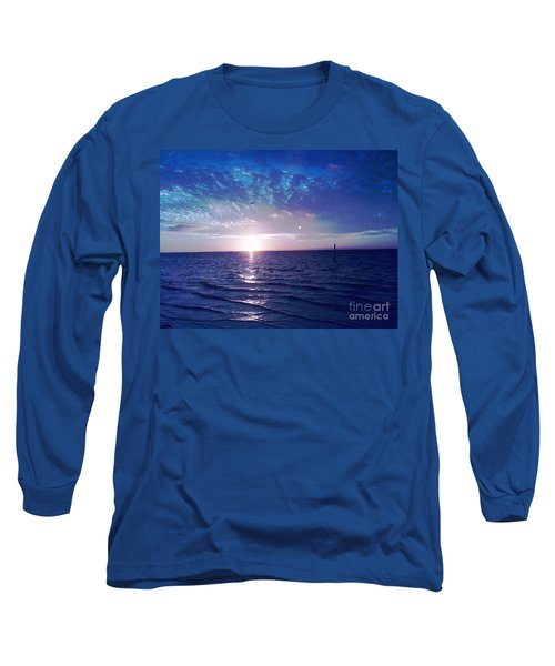 Long Sleeve T-Shirt featuring the photograph Blue Sunset by Vicky Tarcau