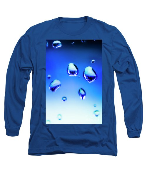 Blue Water Droplets On Glass Long Sleeve T-Shirt