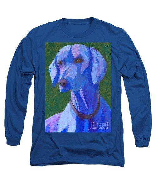 Long Sleeve T-Shirt featuring the painting Blue Weimaraner by Donald J Ryker III