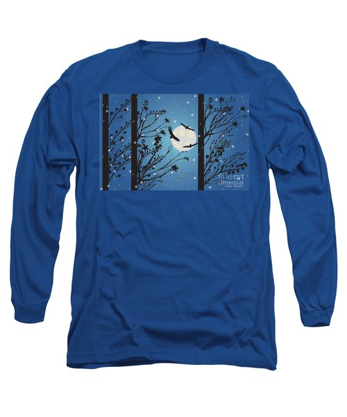 Blue Winter Moon Long Sleeve T-Shirt by Kim Prowse