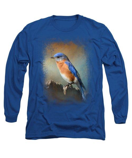 Bluebird On The Fence Long Sleeve T-Shirt