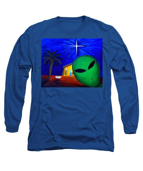 Long Sleeve T-Shirt featuring the painting Bob At The Manger by Lola Connelly