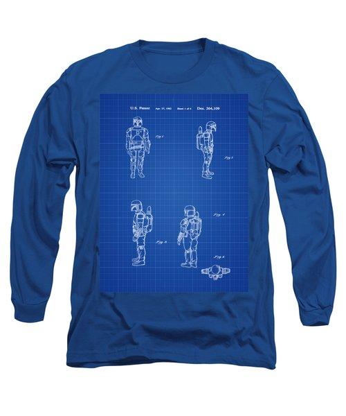 Boba Fett Toy Patent 1982 In Blue Print Long Sleeve T-Shirt