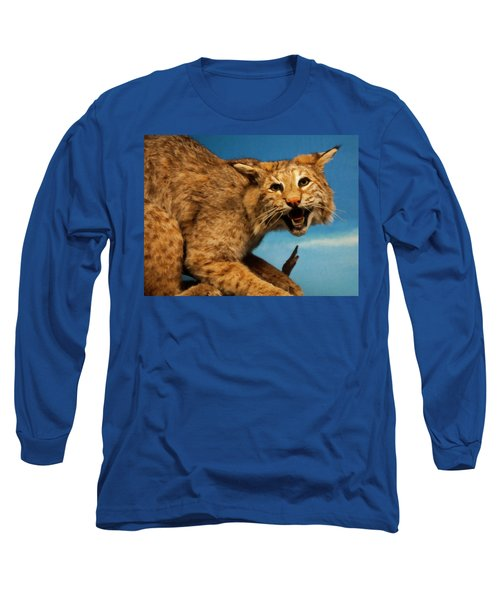 Bobcat On A Branch Long Sleeve T-Shirt by Chris Flees