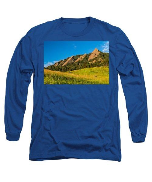 Boulder Colorado Flatirons Sunrise Golden Light Long Sleeve T-Shirt