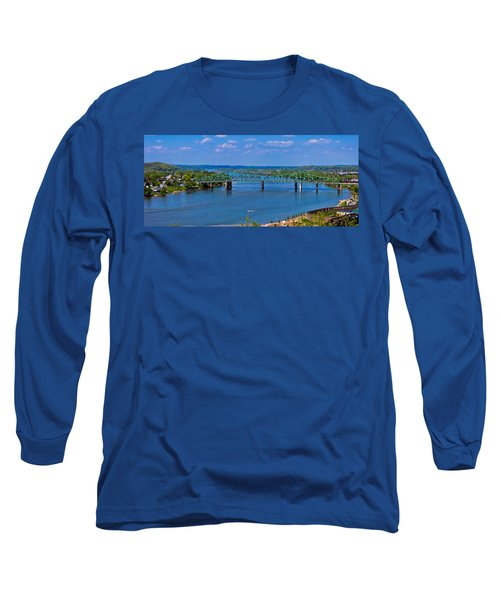 Bridge On The Ohio River Long Sleeve T-Shirt by Jonny D