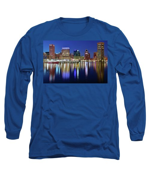 Long Sleeve T-Shirt featuring the photograph Bright Blue Baltimore Night by Frozen in Time Fine Art Photography