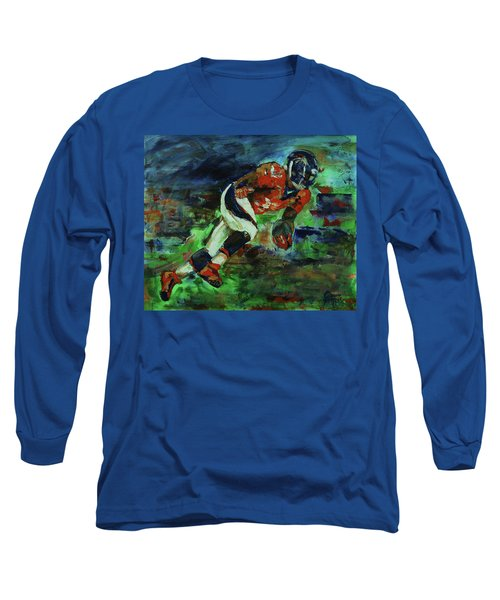 Long Sleeve T-Shirt featuring the painting Broncos - Orange And Blue Horse Power by Walter Fahmy