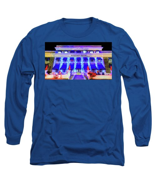 Long Sleeve T-Shirt featuring the photograph Buckstaff Baths - Christmastime by Stephen Stookey
