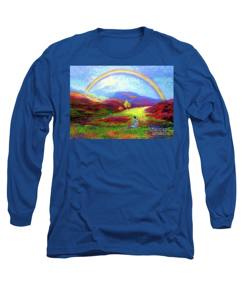 Long Sleeve T-Shirt featuring the painting Buddha Chakra Rainbow Meditation by Jane Small