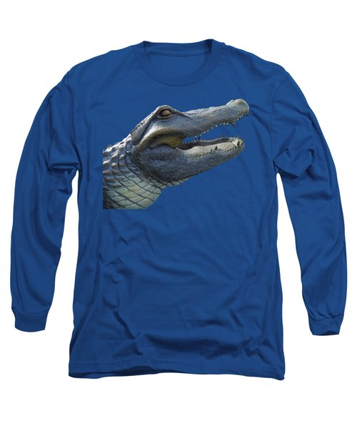 Bull Gator Portrait Transparent For T Shirts Long Sleeve T-Shirt by D Hackett
