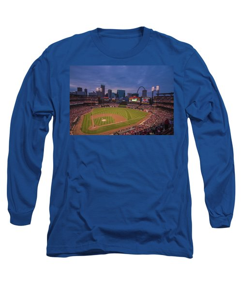 Busch Stadium St. Louis Cardinals Ball Park Village Twilight #3c Long Sleeve T-Shirt by David Haskett