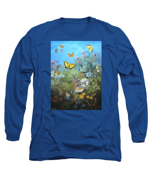 Butterflies And Wildflowers Of Wyoming Long Sleeve T-Shirt by Dawn Senior-Trask