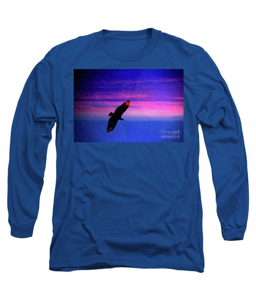 Long Sleeve T-Shirt featuring the photograph Buzzard In The Rain by Al Bourassa