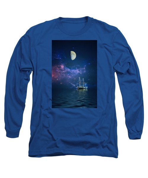 By Way Of The Moon And Stars Long Sleeve T-Shirt by John Rivera
