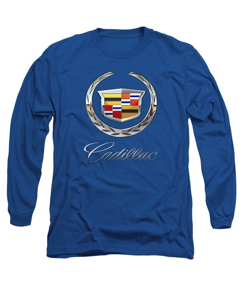 Cadillac 3 D  Badge Special Edition On Blue Long Sleeve T-Shirt
