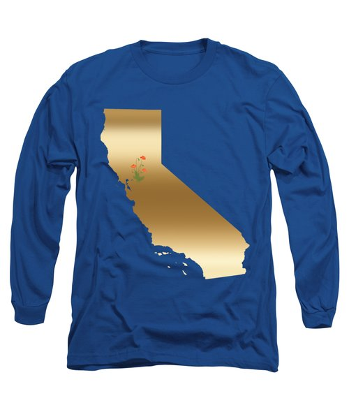 California Gold With State Flower Long Sleeve T-Shirt