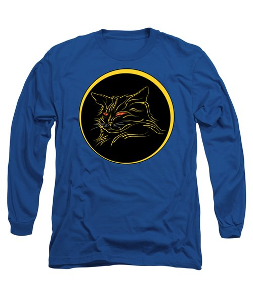 Calligraphic Black Cat And Moon Long Sleeve T-Shirt