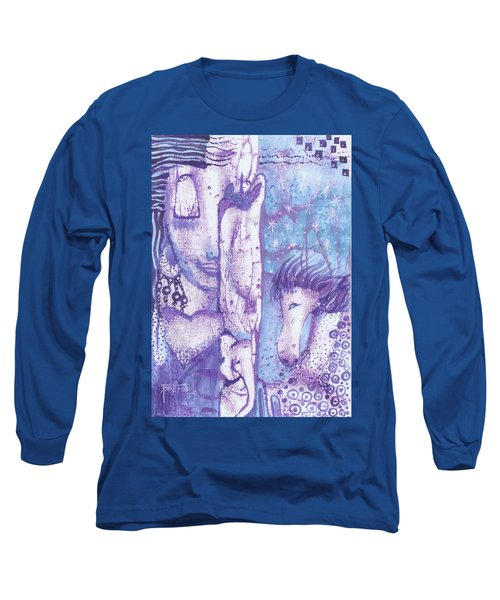 Long Sleeve T-Shirt featuring the mixed media Calling Upon The Spirit Animals by Prerna Poojara