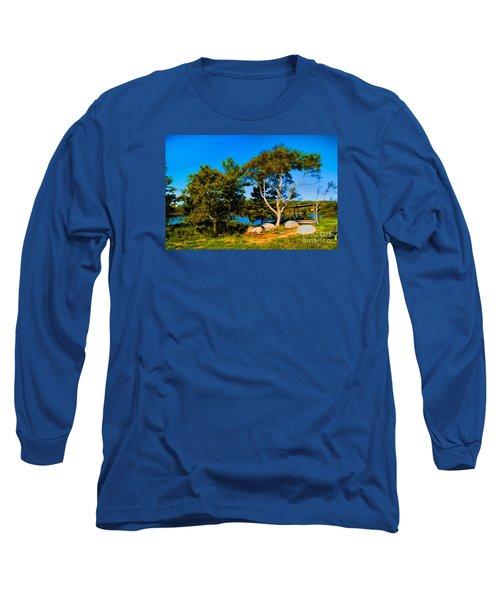 Campfire Lake Long Sleeve T-Shirt by Rick Bragan