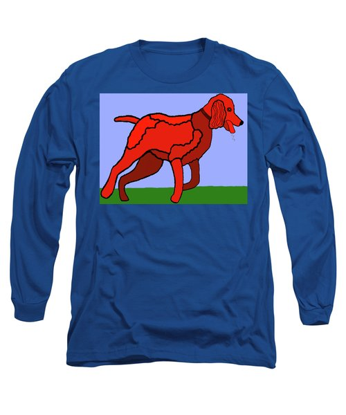 Long Sleeve T-Shirt featuring the painting Cartoon Romping Miniature Apricot Poodle by Marian Cates