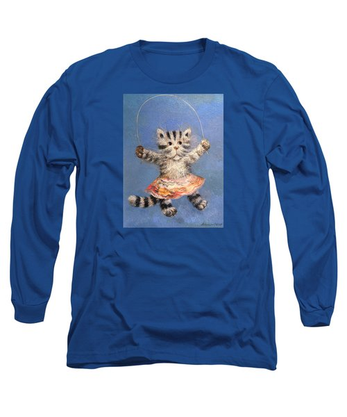 Cat And Skip Rope Long Sleeve T-Shirt by Mikhail Savchenko