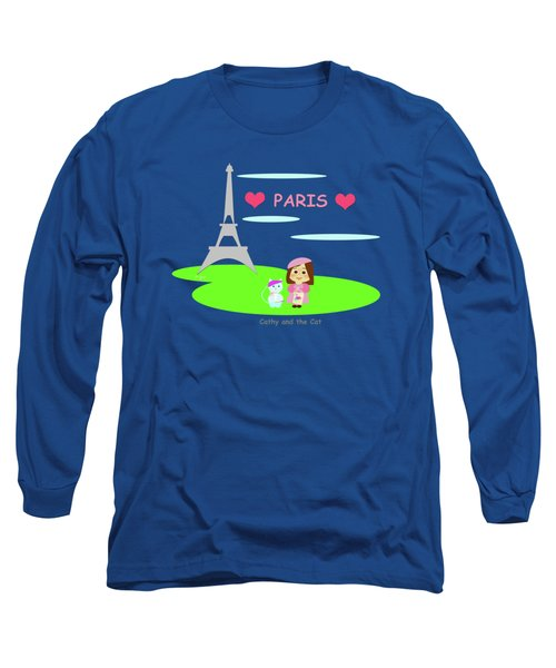 Cathy And The Cat In Paris Long Sleeve T-Shirt by Laura Greco