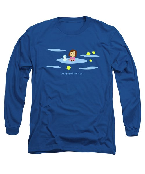 Cathy And The Cat With Stars Long Sleeve T-Shirt