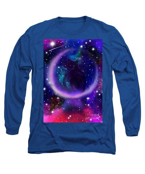 Long Sleeve T-Shirt featuring the painting Celestial Crescent Moon Cat  by Nick Gustafson
