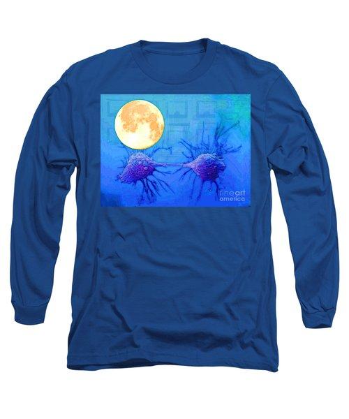 Cell Division Under Full Moon Long Sleeve T-Shirt by Mojo Mendiola