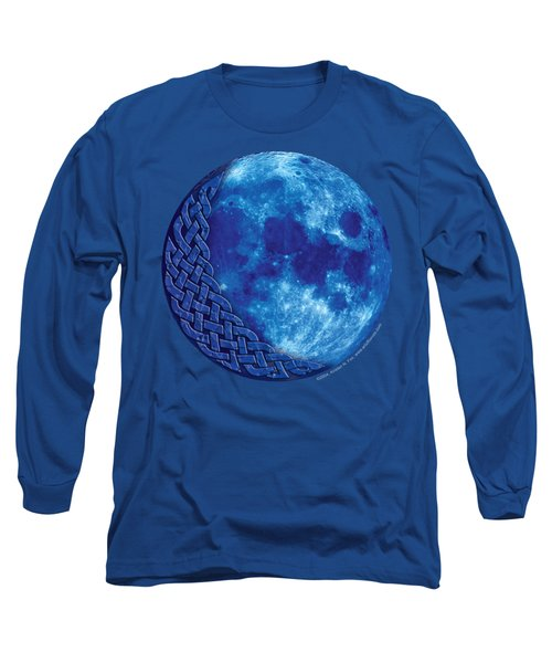 Long Sleeve T-Shirt featuring the mixed media Celtic Blue Moon by Kristen Fox