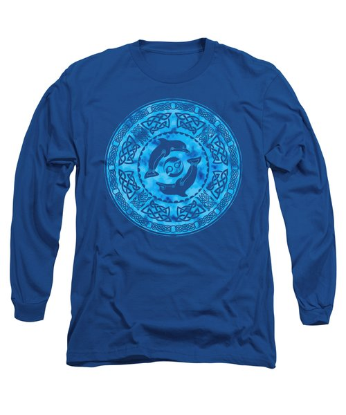Long Sleeve T-Shirt featuring the mixed media Celtic Dolphins by Kristen Fox