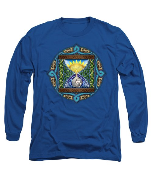 Long Sleeve T-Shirt featuring the mixed media Celtic Sun Moon Hourglass by Kristen Fox