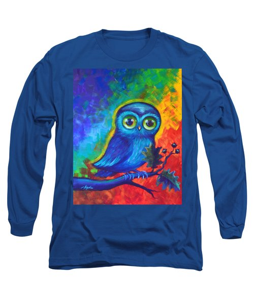 Long Sleeve T-Shirt featuring the painting Chakra Abstract With Owl by Agata Lindquist