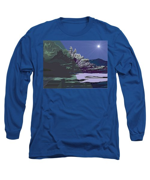 Long Sleeve T-Shirt featuring the digital art 1978 - Nowhere  by Irmgard Schoendorf Welch