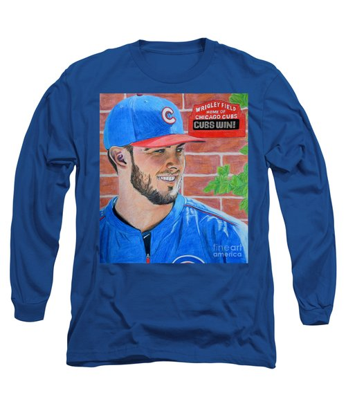 Chicago Cubs Kris Bryant Portrait Long Sleeve T-Shirt by Melissa Goodrich