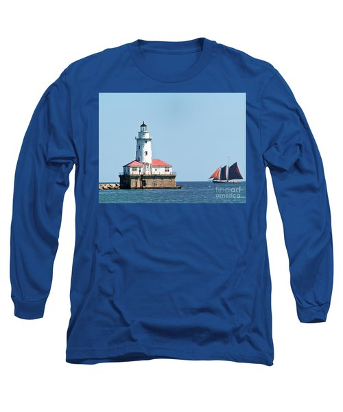 Chicago Harbor Lighthouse And A Tall Ship Long Sleeve T-Shirt