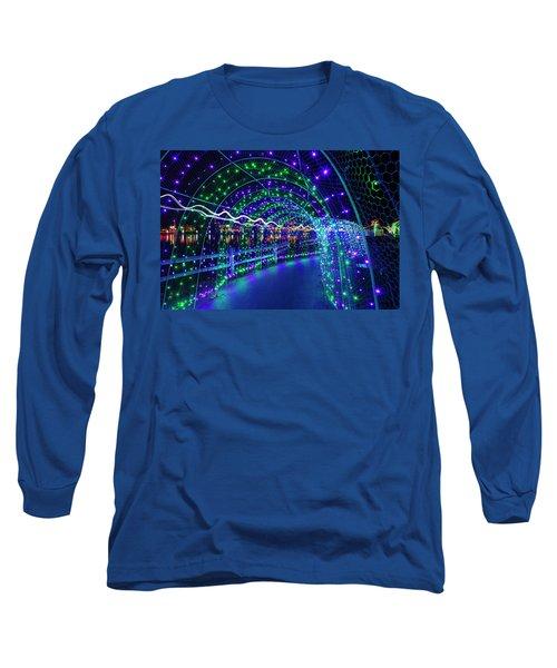 Christmas Lights In Tunnel At Lafarge Lake Long Sleeve T-Shirt