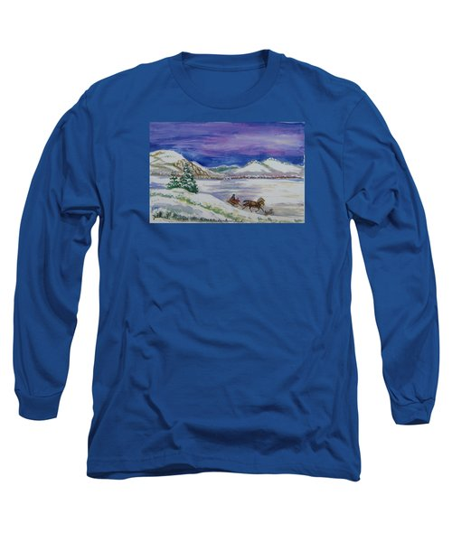 Long Sleeve T-Shirt featuring the painting Christmas Sleigh by Dawn Senior-Trask