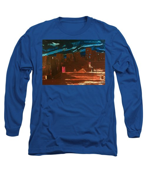 Long Sleeve T-Shirt featuring the painting City Lights by Norma Duch