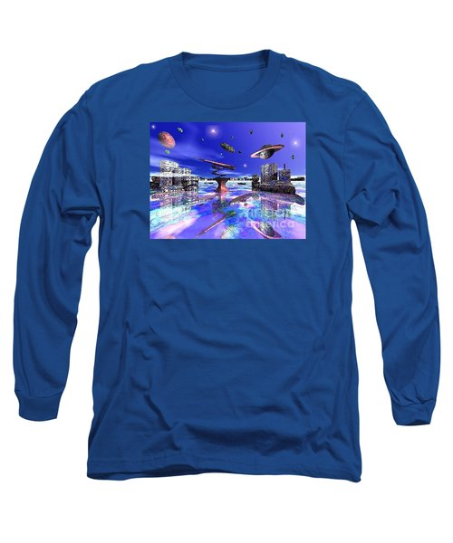 Long Sleeve T-Shirt featuring the digital art City Of New Horizions by Jacqueline Lloyd